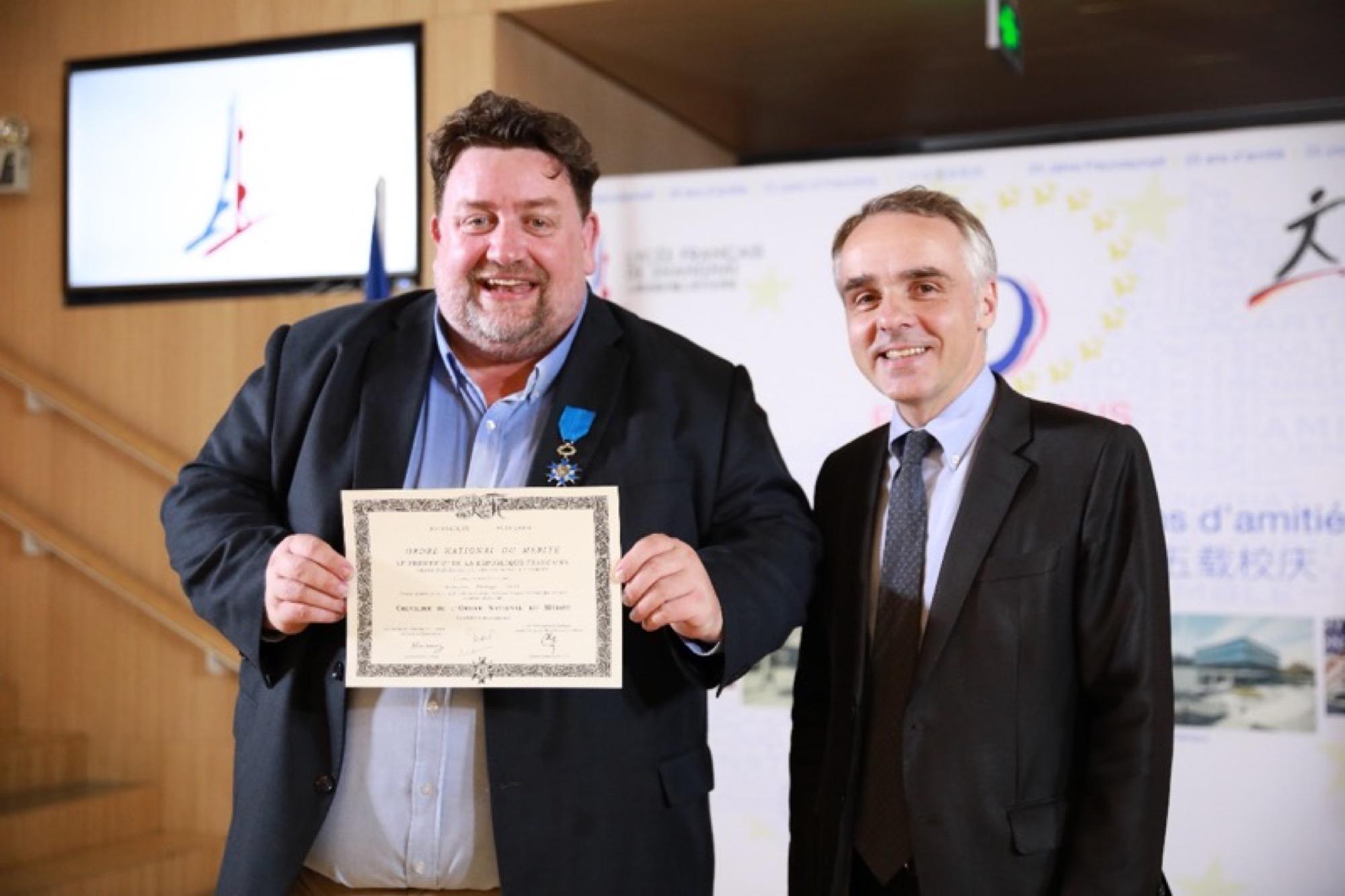 Philippe Snel获法国国家功绩骑士勋章